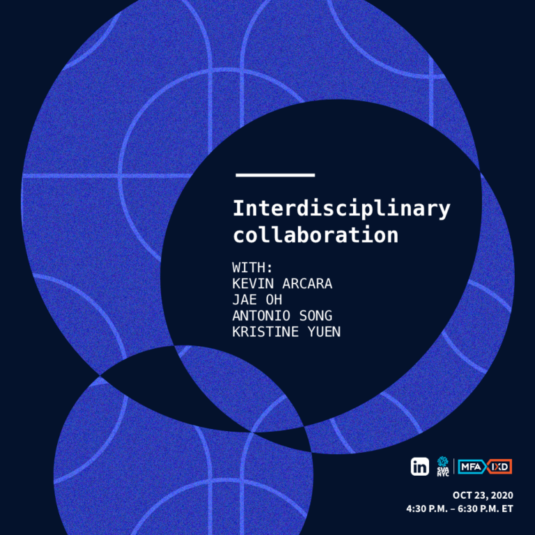 Interdisciplinary Collaboration event title in circles on dark background with tiny sponsor logos