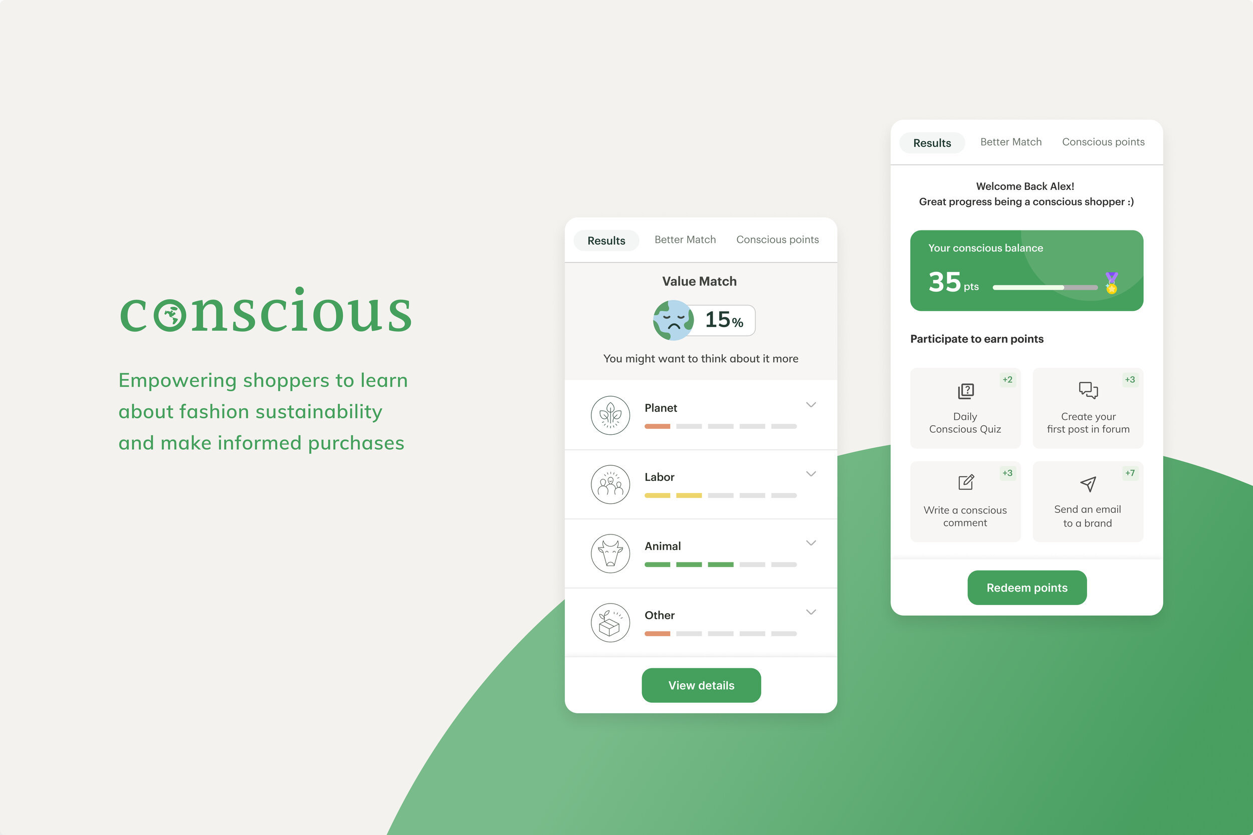 conscious A plugin that empowers shoppers to learn about fashion sustainability and make informed purchases.
