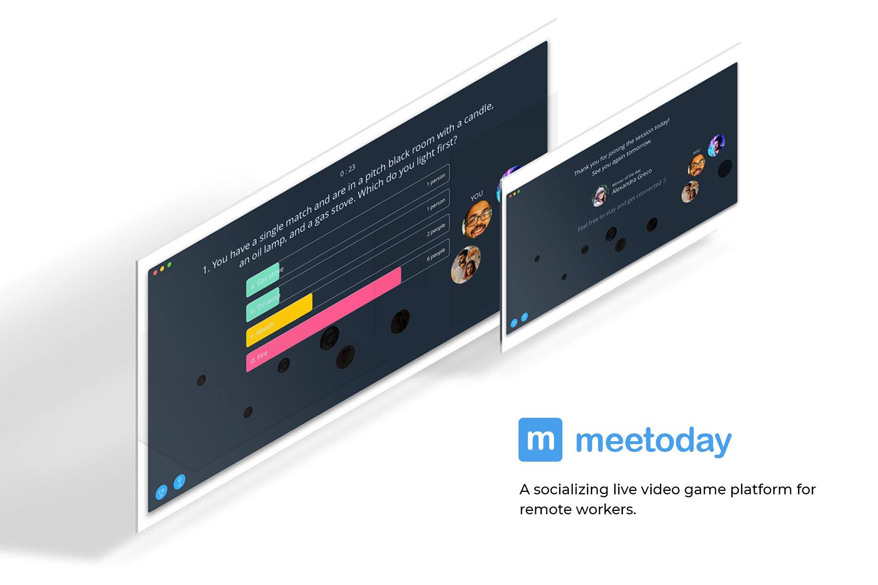 Meetoday A live social video game platform for remote workers.
