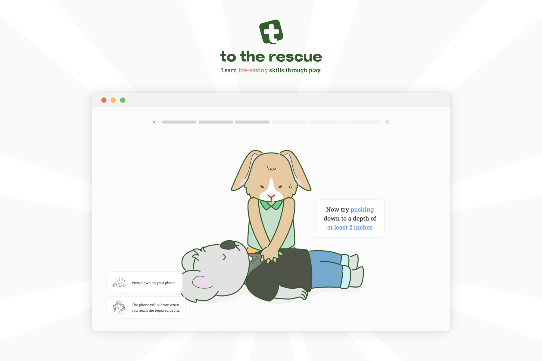 Cartoon animals performing CPR in a web page on a white background
